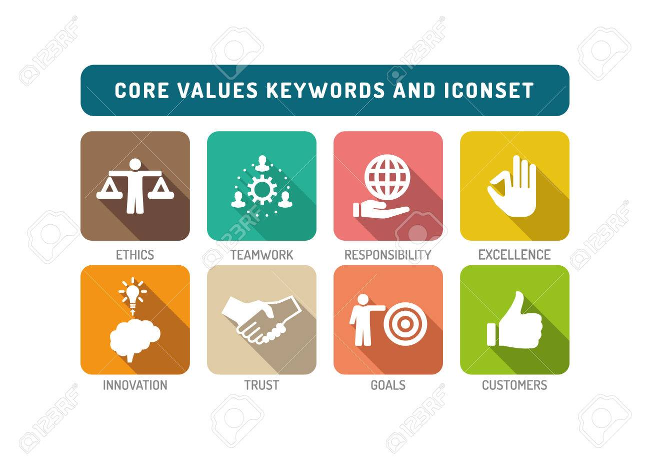core values flat icon set royalty free cliparts vectors and stock
