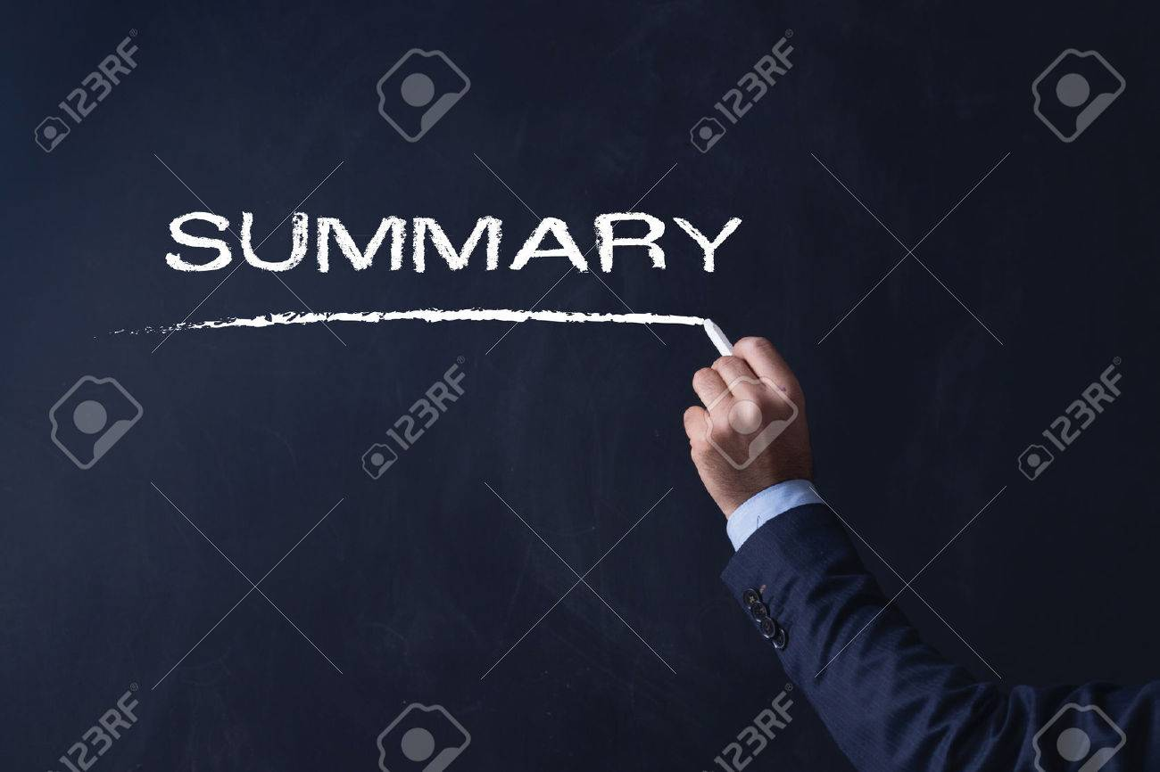 Businessman writing SUMMARY on Blackboard - 65395990