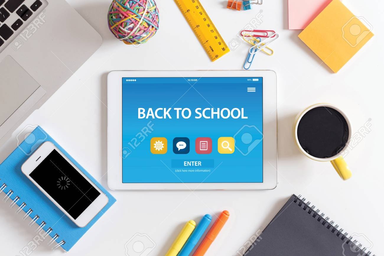 Back To School Concept On Tablet Pc Screen Stock Photo Picture And