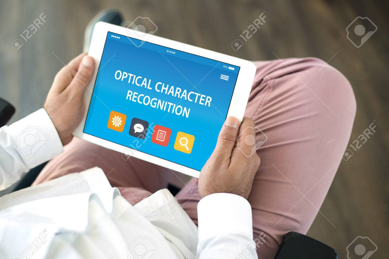 OPTICAL CHARACTER RECOGNITION CONCEPT ON TABLET PC SCREEN Stock Photo