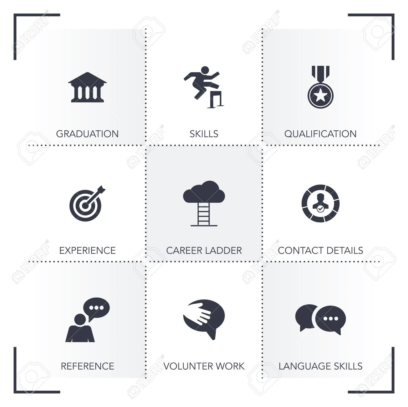 Curriculum Vitae Icon Set Royalty Free Cliparts Vectors And Stock