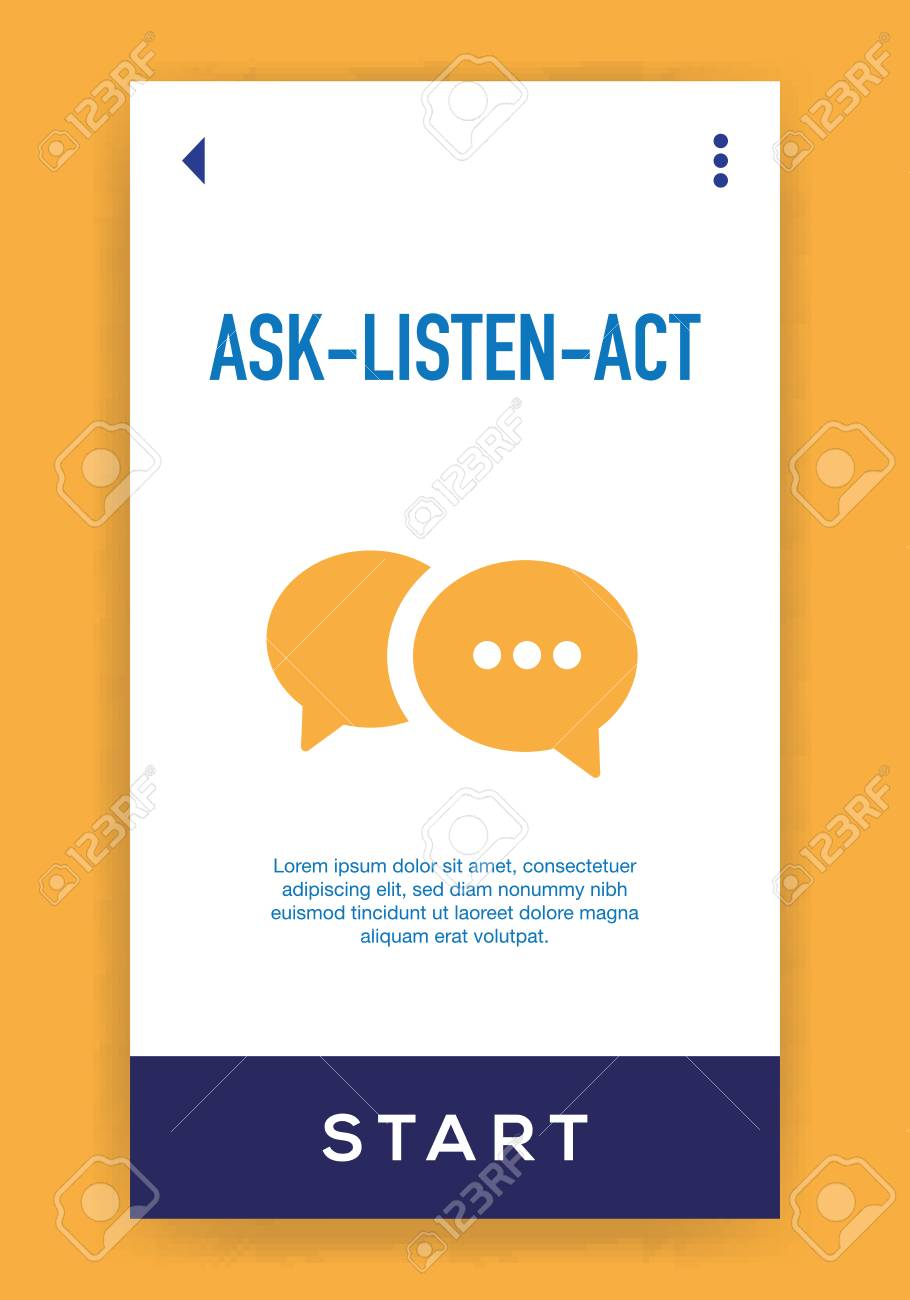 ask listen act icon royalty free cliparts vectors and stock