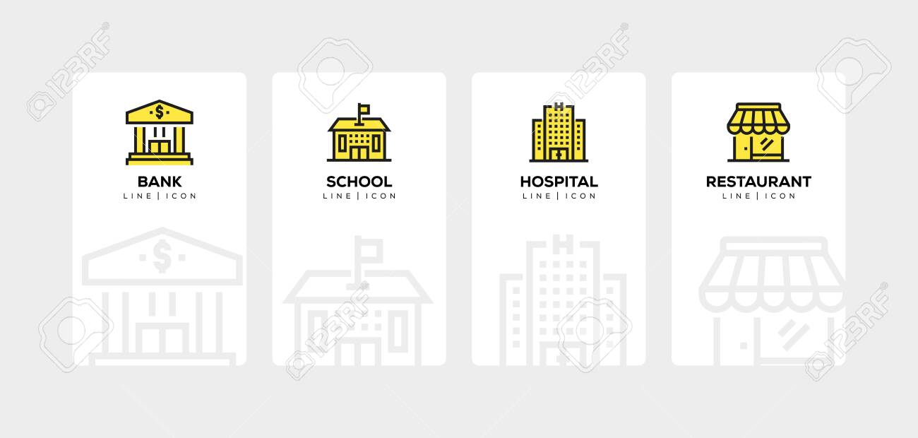 BUILDINGS LINE ICON SET - 122861880