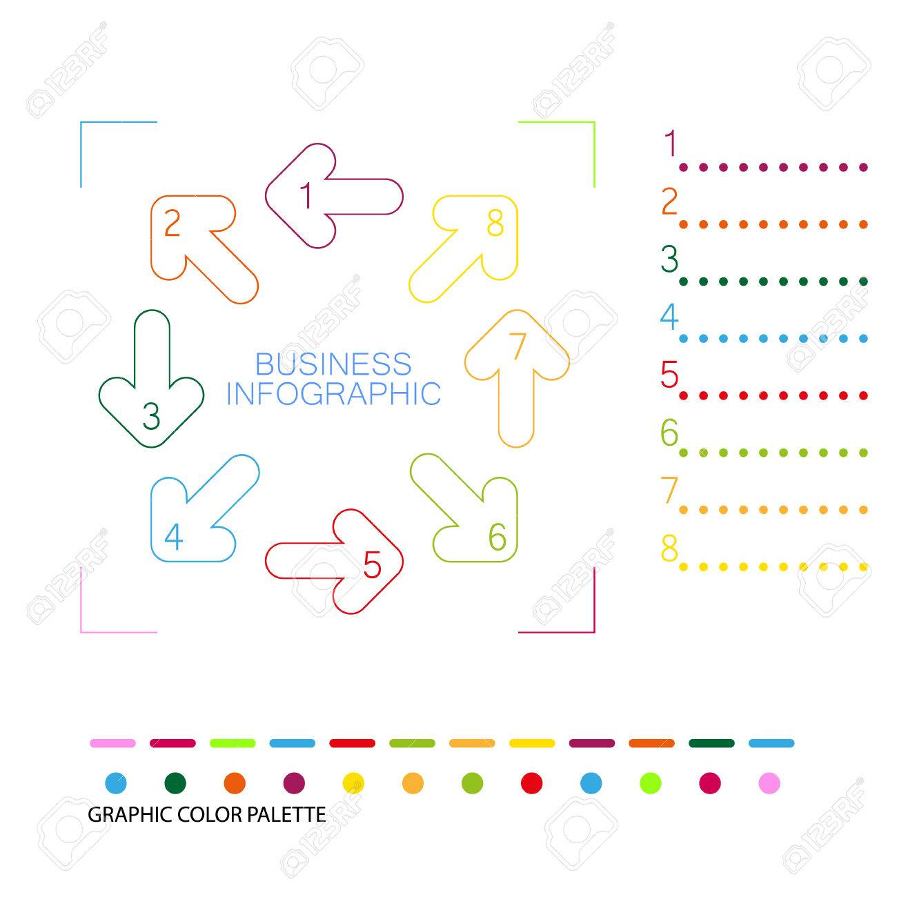 Colorful Info Graphic Template With Color Palette Royalty Free ...