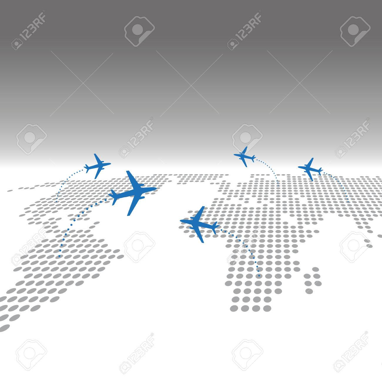 Travel airplane with dotted world map infographic web background travel airplane with dotted world map infographic web background stock vector 62837129 gumiabroncs Choice Image