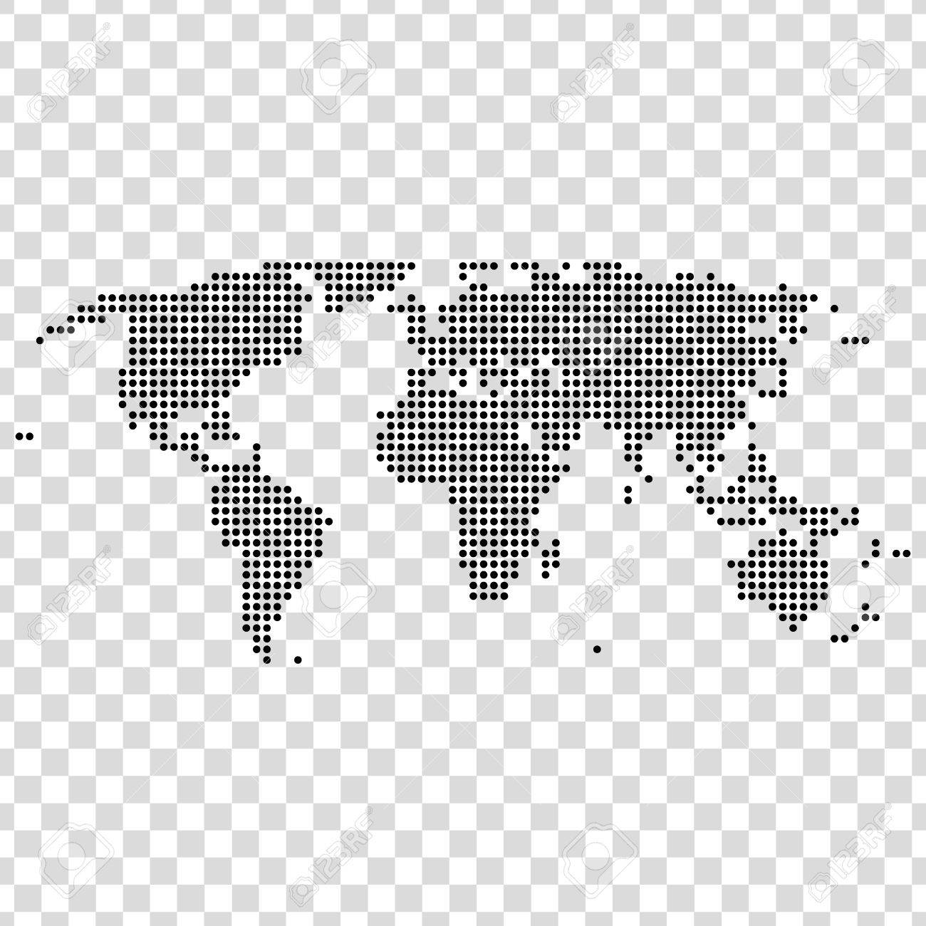 Black dots world map on transparent background royalty free black dots world map on transparent background stock vector 68223799 gumiabroncs Images