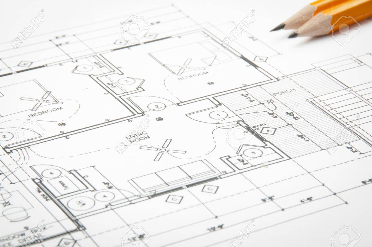 Construction Planning Drawings On The Table And Two Yellow Pencils – Construction Site Plan Table