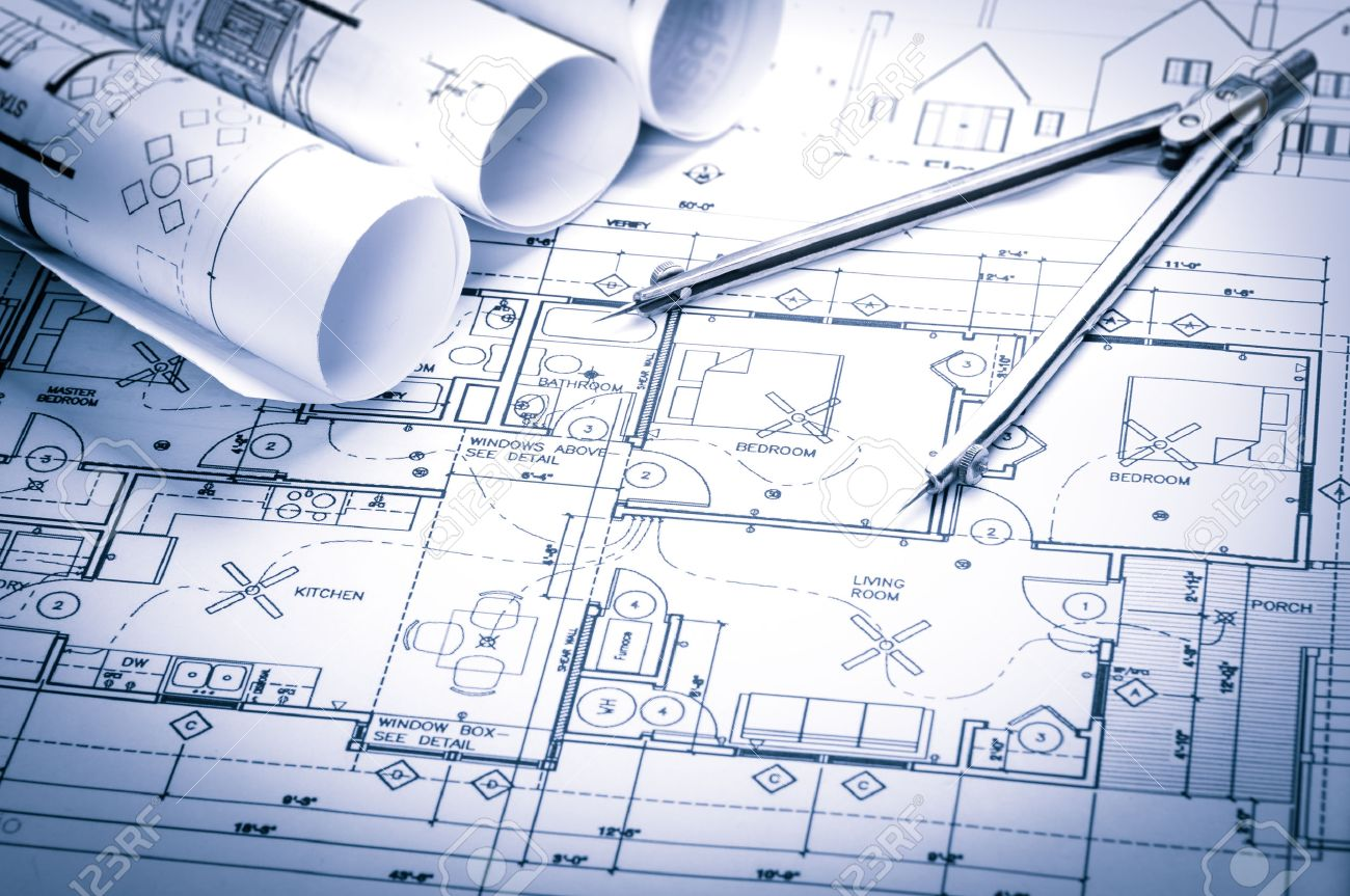 56283 architect stock illustrations cliparts and royalty free rolls of architecture blueprints and house plans on the table and drawing compass stock photo malvernweather Gallery