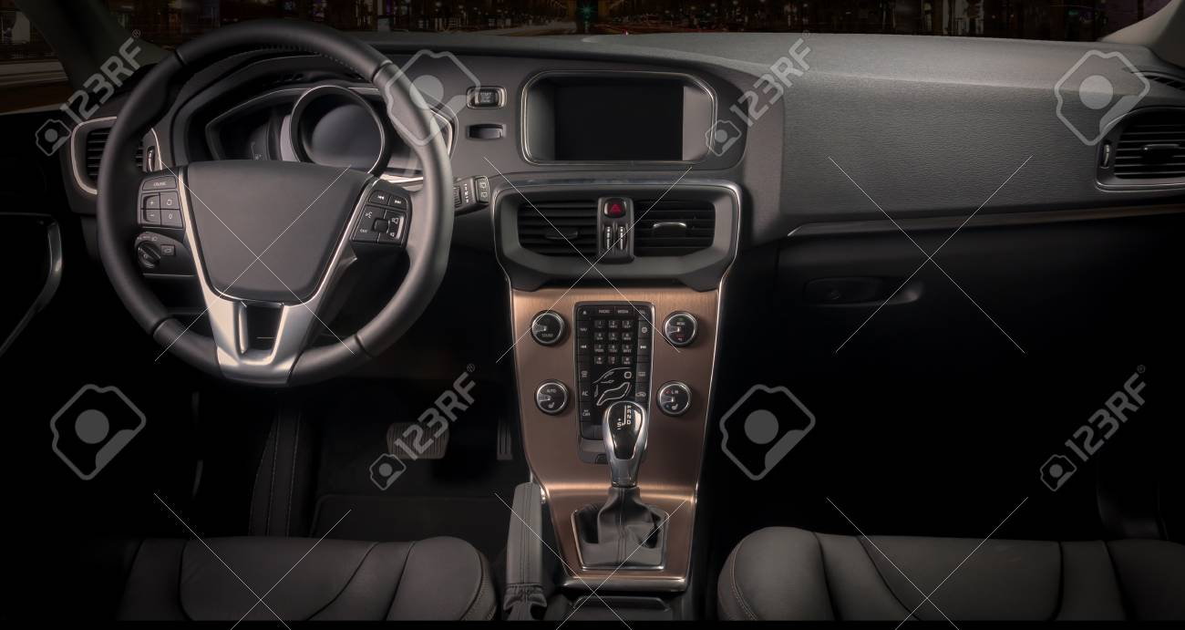 Interior of a modern automobile showing the dashboard - 45658674