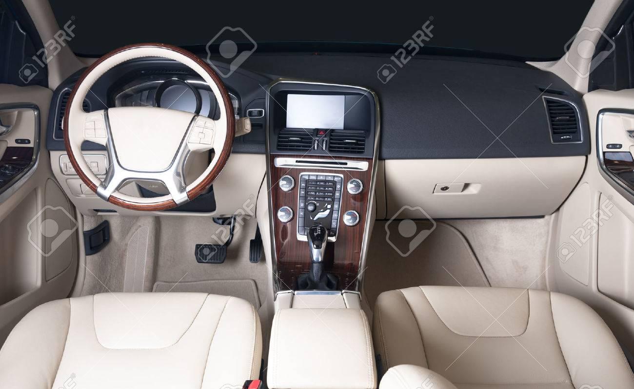Dark luxury car Interior - steering wheel, shift lever and dashboard - 57201338