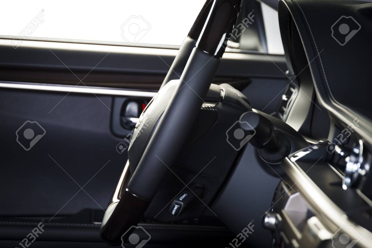 Modern Luxury Car Interior Dashboard Steering Wheel Wood Stock