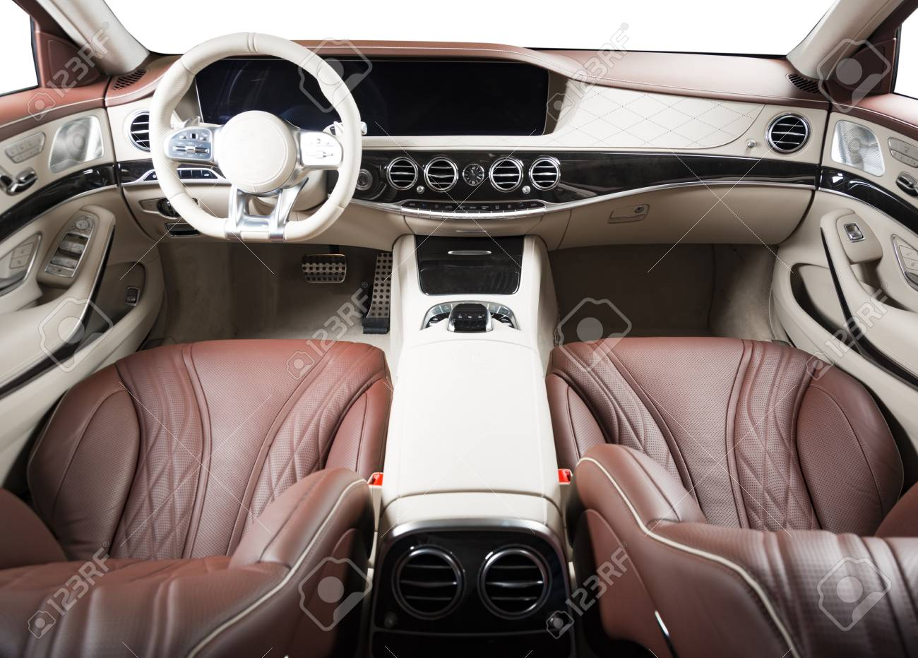 Modern Luxury Car Interior Steering Wheel Shift Lever And Stock Photo Picture And Royalty Free Image Image 94461699