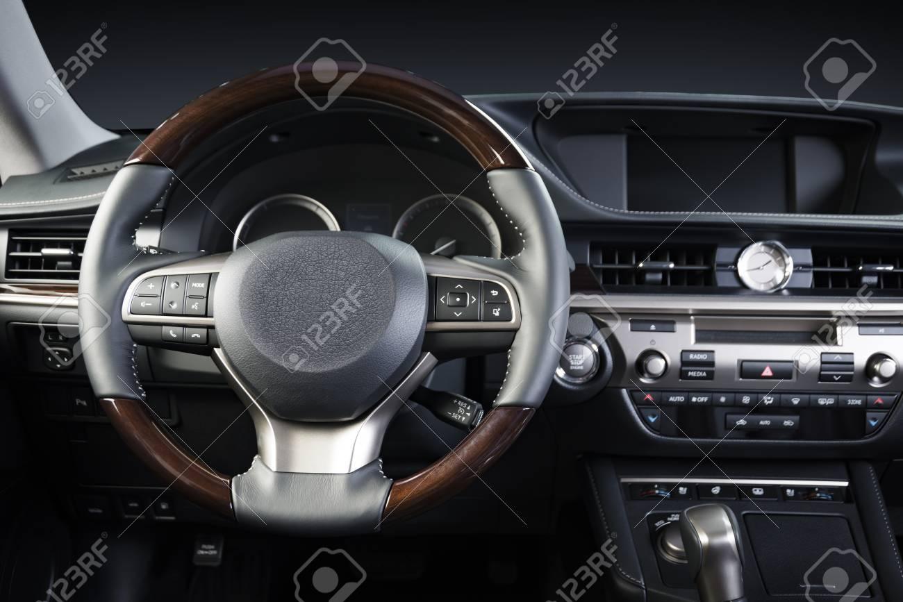 Modern Luxury Prestige Car Interior Dashboard Steering Wheel