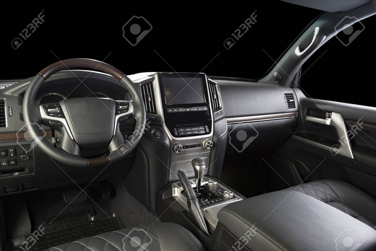 Modern Luxury Car Black Leather Interior Part Of Leather Car