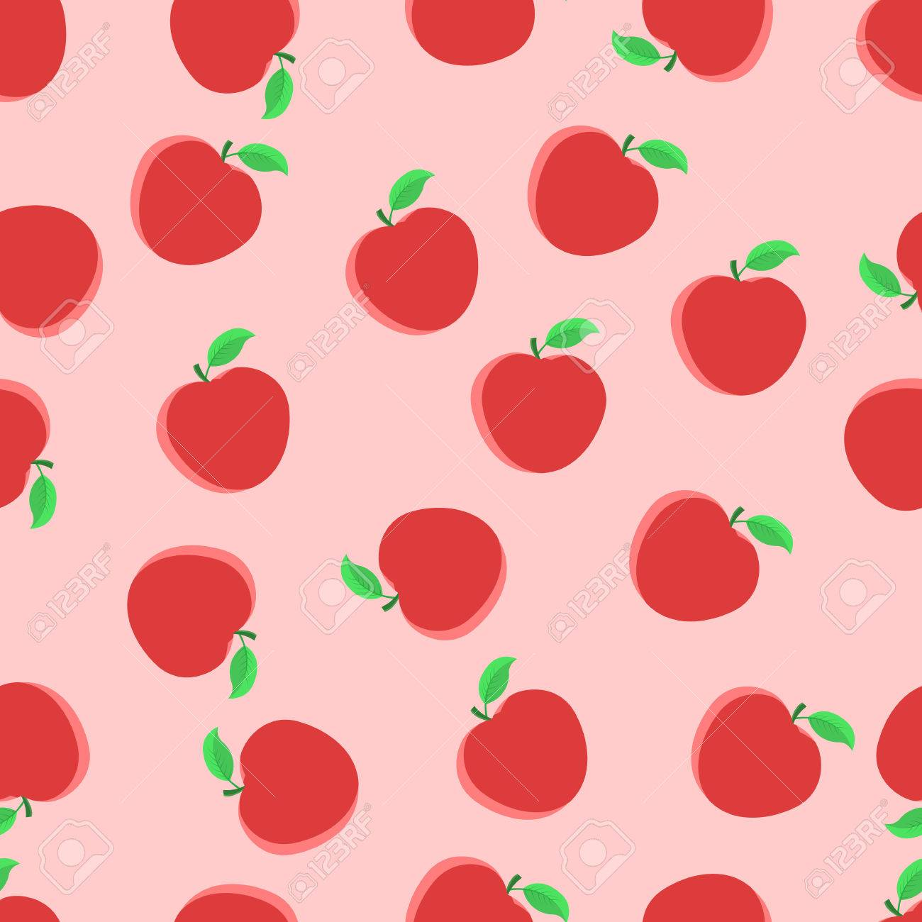 vector seamless pattern with red apples. print pattern apple
