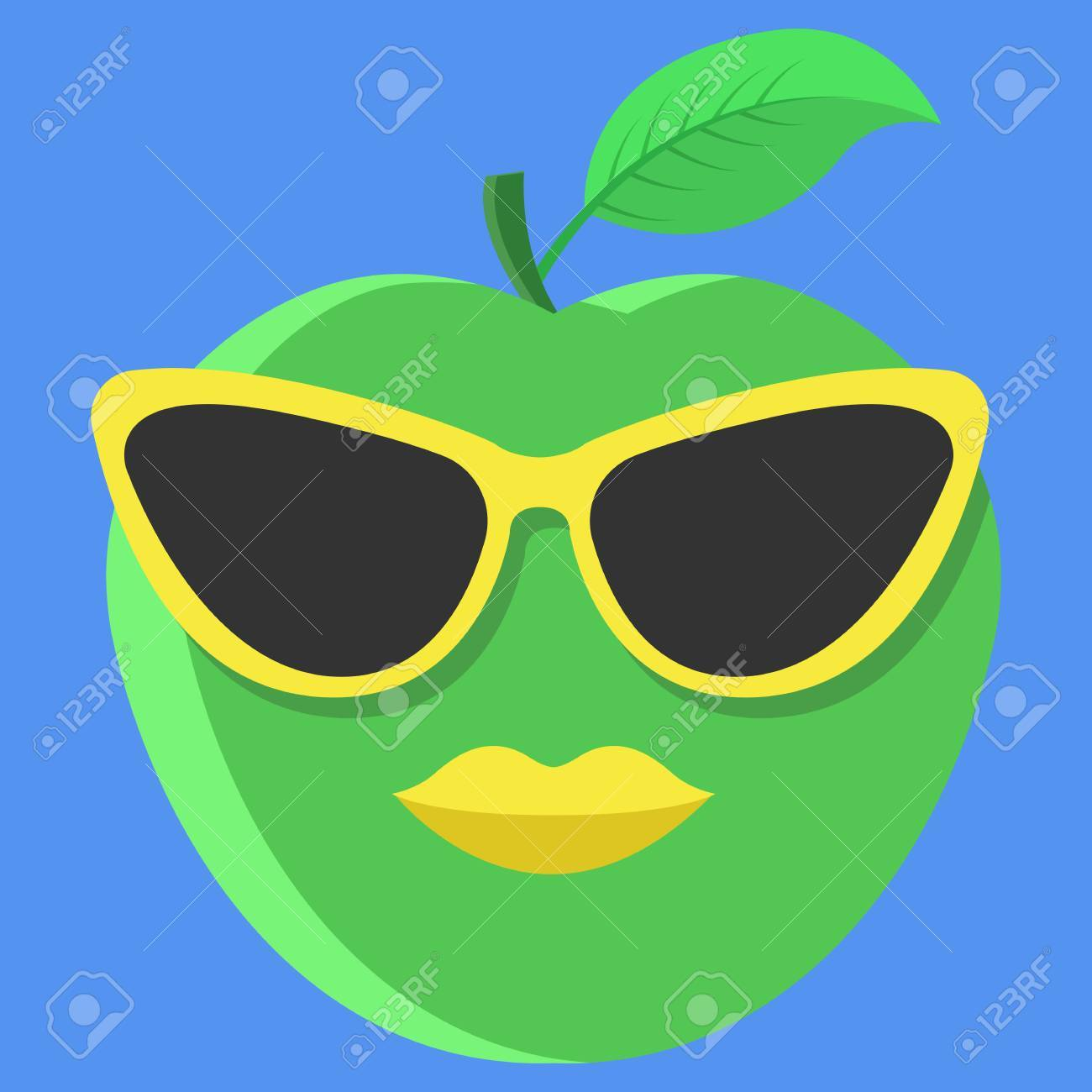 a93c92eafeeb3 Vector - Vector green apple cartoon. Apple with glasses. Apple with lips.  Apple Fashion. Apple isolated. Apple icon.