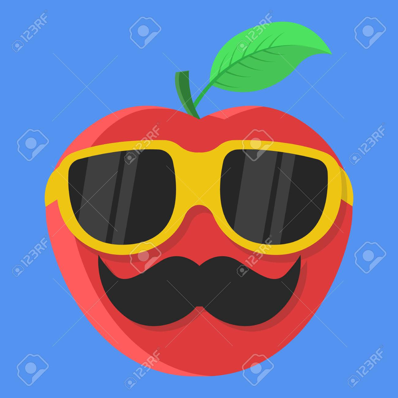 bf302400dde2b Vector - Vector red apple cartoon. Apple with glasses. Apple with mustache.  Apple Fashion. Apple isolated. Apple icon.