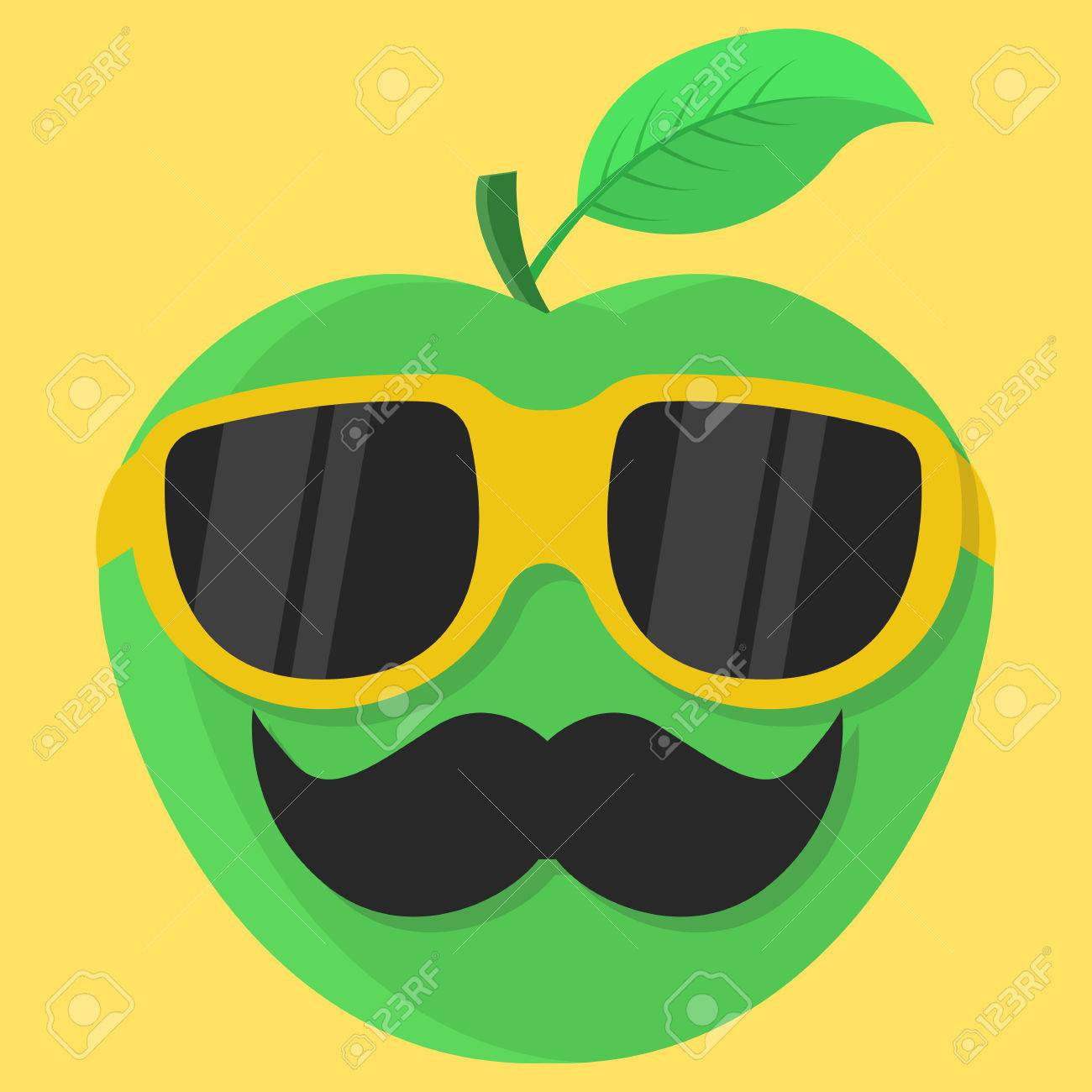 236bcd49d6bf2 Vector - Vector green apple cartoon. Apple with glasses. Apple with  mustache. Apple Fashion. Apple isolated. Apple icon.