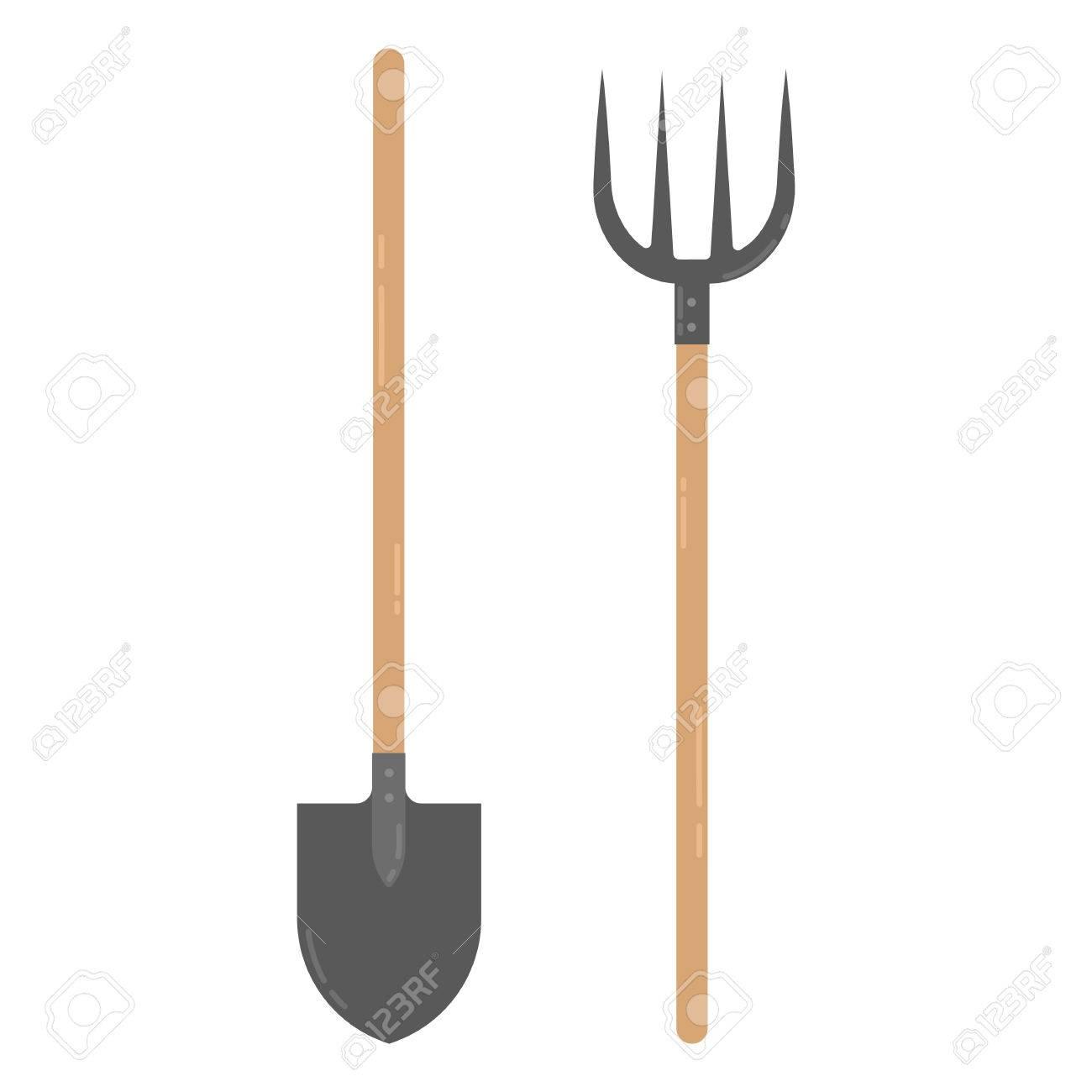 farmers shovel and pitchfork royalty free cliparts vectors and rh 123rf com Devil Clip Art Chicken Clip Art