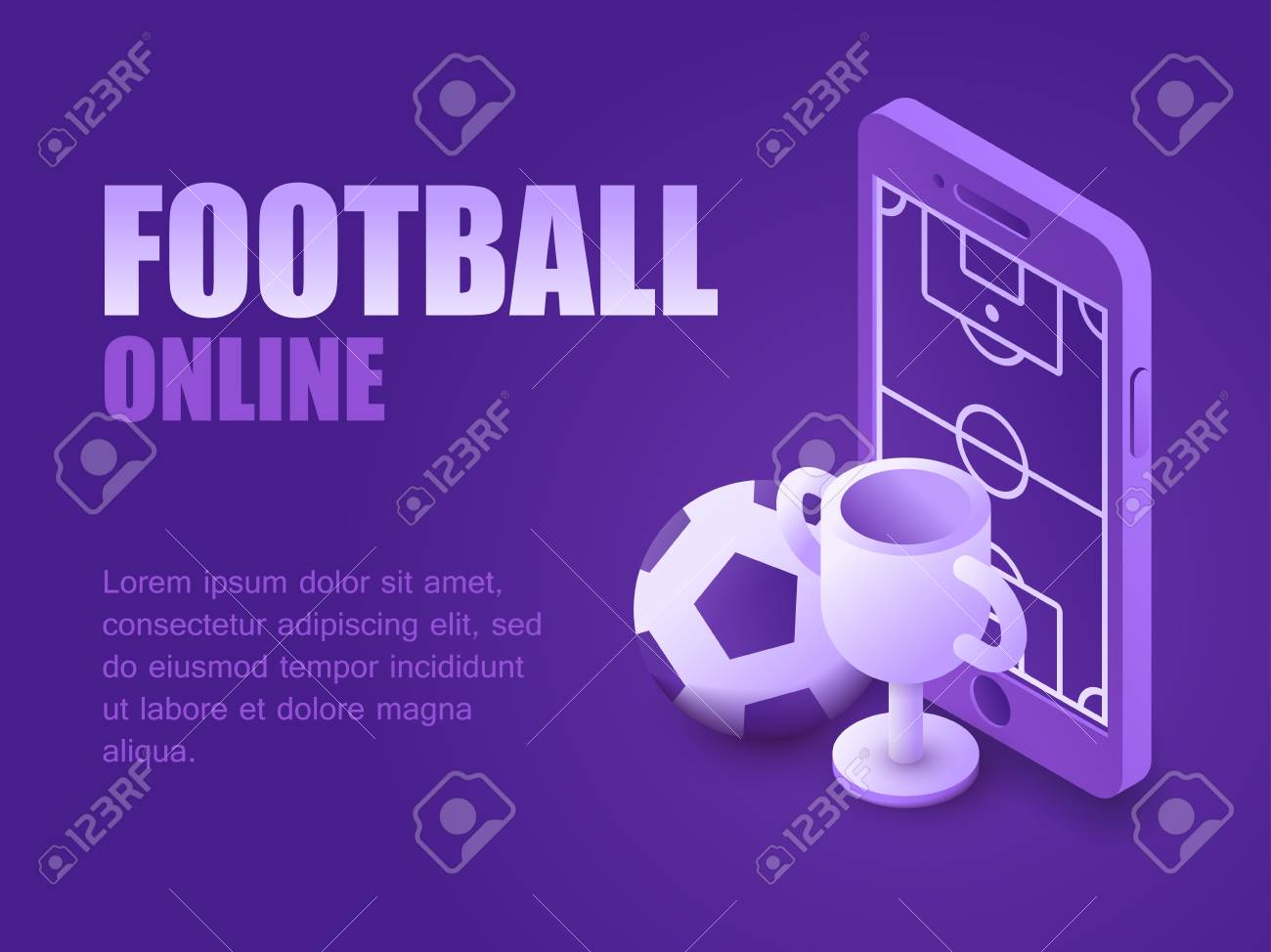 Concept Football Online Vector Illustration Isometric Smartphone
