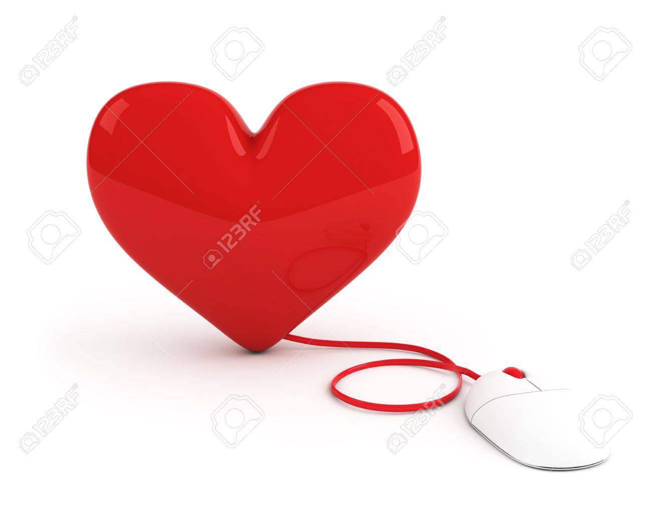red heart controled by computer mouse Stock Photo - 4228866
