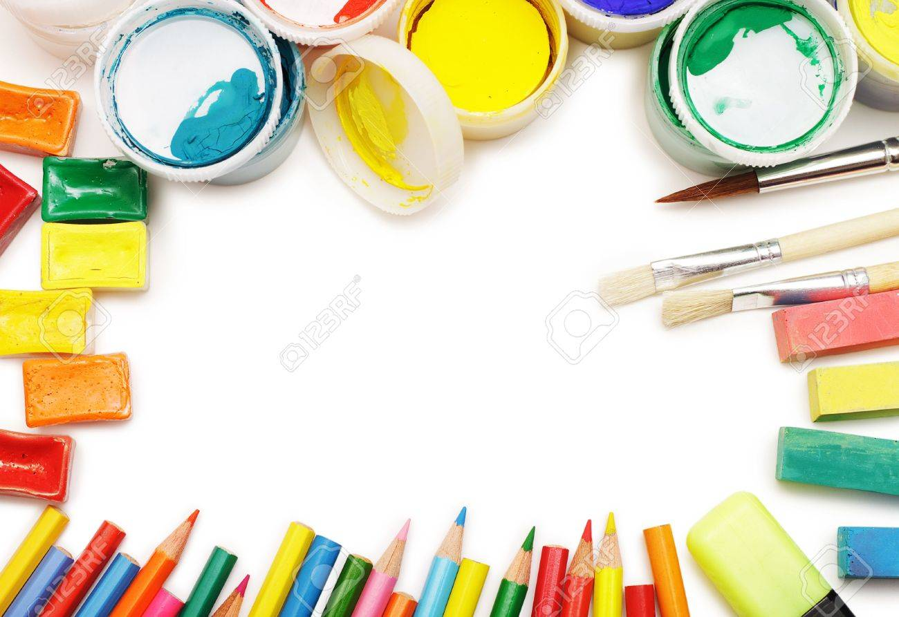 top view of different colored artist's instruments arranged in the frame over white background Stock Photo - 6696121