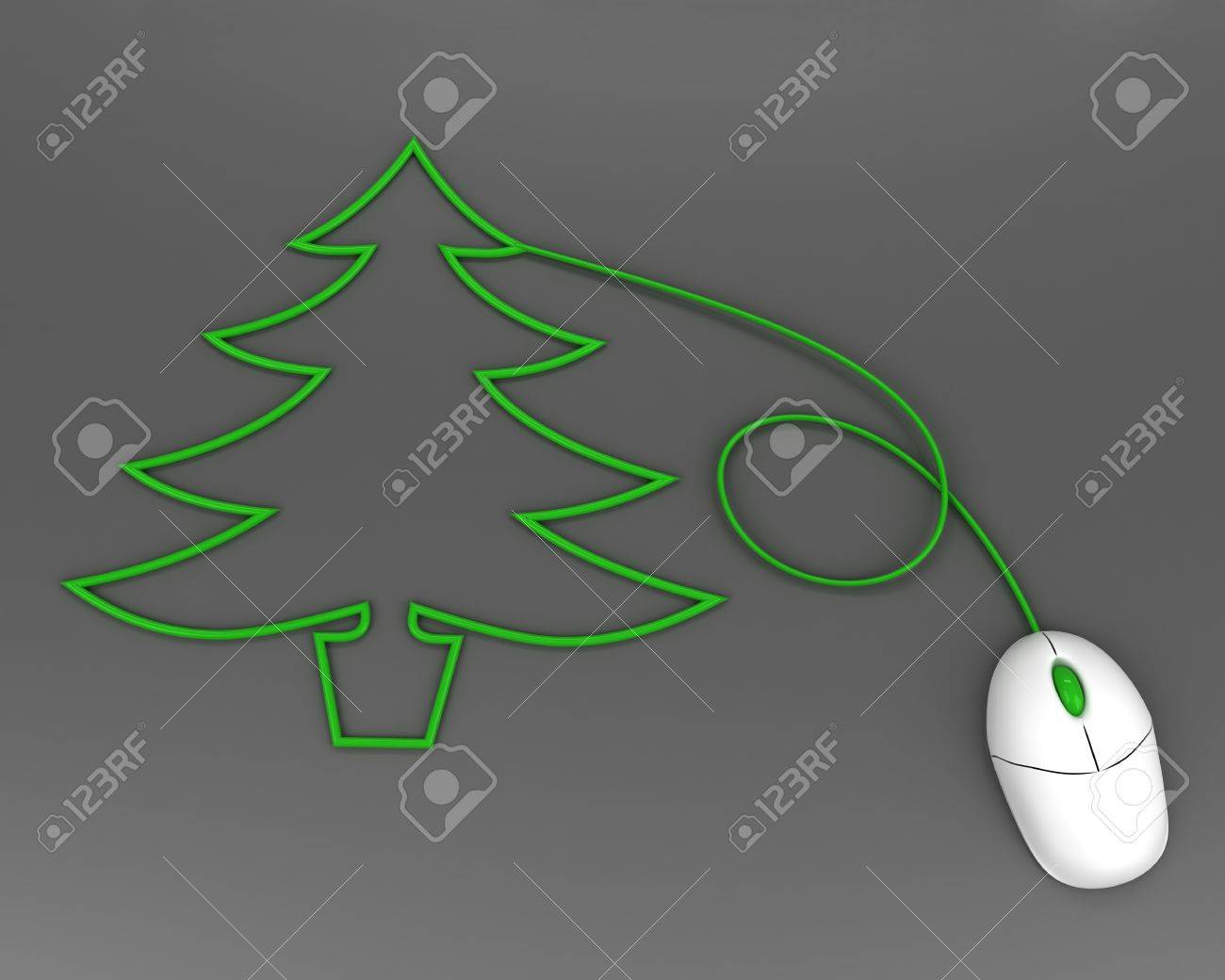 christmas tree depicted with computer mouse cable over grey Stock Photo - 8481832