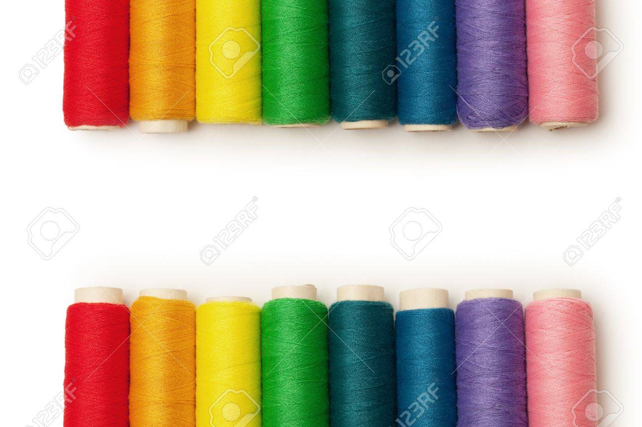 rainbow colored threads set isolated over white background Stock Photo - 9143152