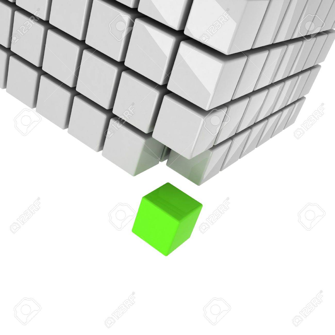 green cube getting detached concept Stock Photo - 11187674