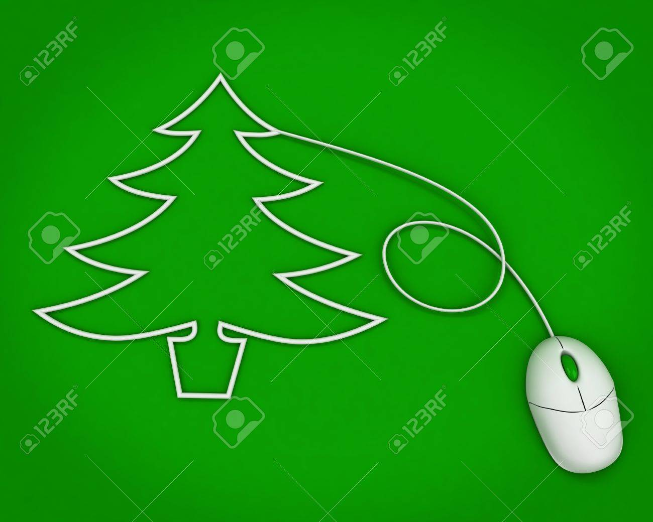 christmas tree depicted with computer mouse cable over green Stock Photo - 11554021