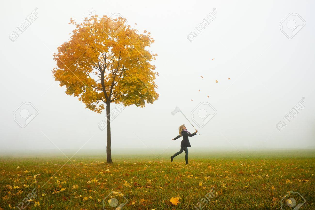 happy young girl catching autumn leafs with net Stock Photo - 11554018