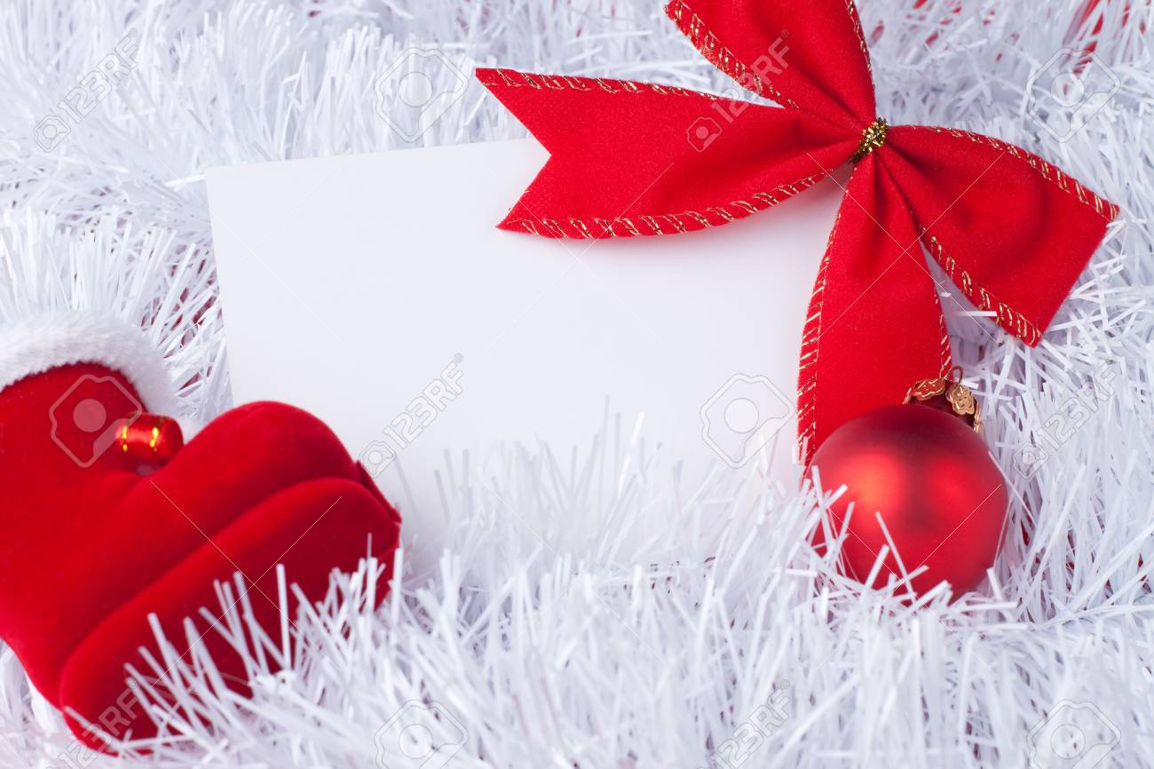 greeting card and christmas red decoration Stock Photo - 11782840