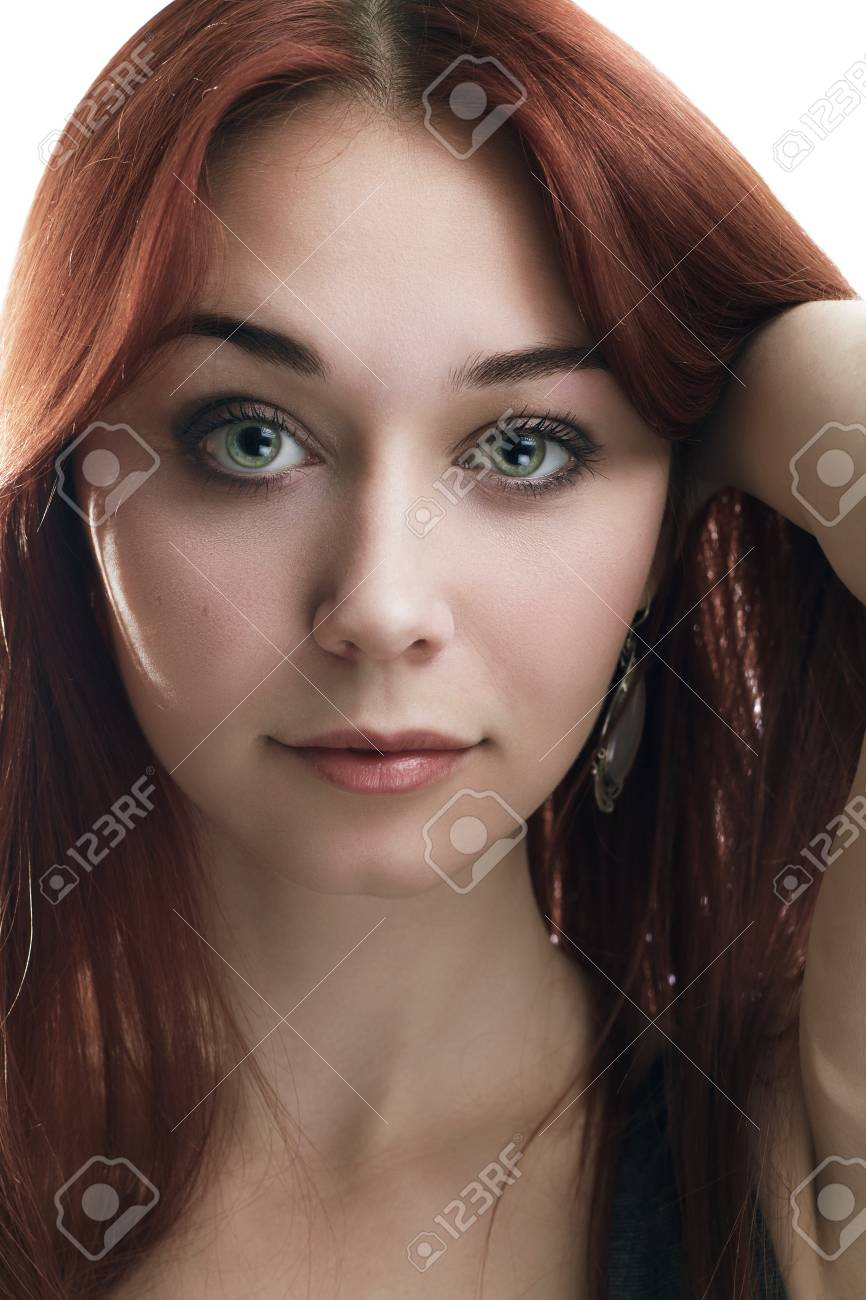 portrait of young red-haired woman isolated over white Stock Photo - 15529896
