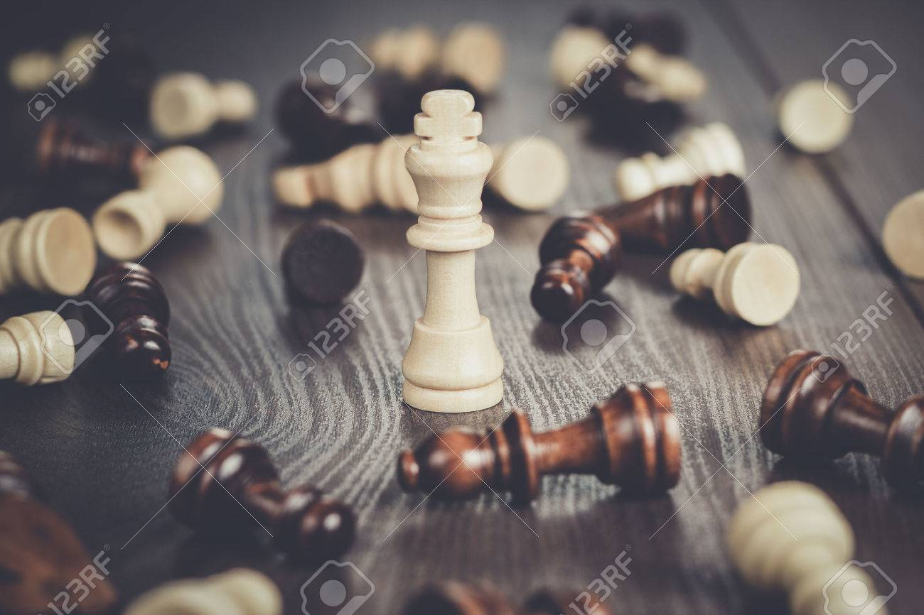 chess winning concept on the wooden background Stock Photo - 58128612