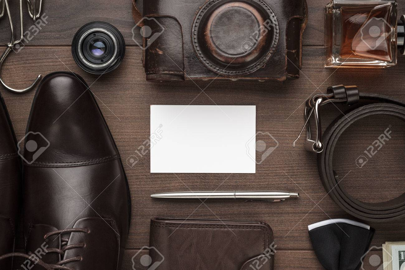 Mens Accessories And Blank Business Card Mockup On The Brown Wooden Table  Stock Photo   72115166