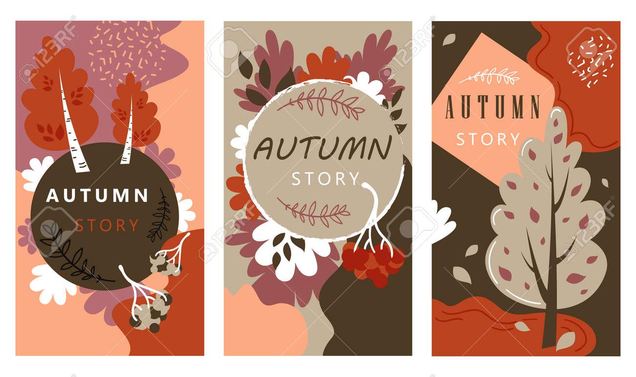 Autumn Sale Stories Set Hand Drawn Illustration - 157667930