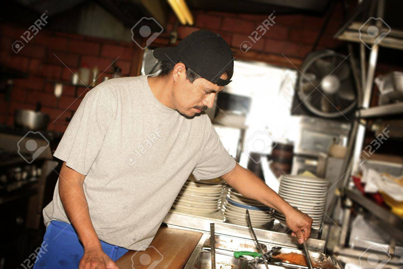 Hispanic Kitchen Staff. Grid Spot Used On Flash To Place Emphasis On ...