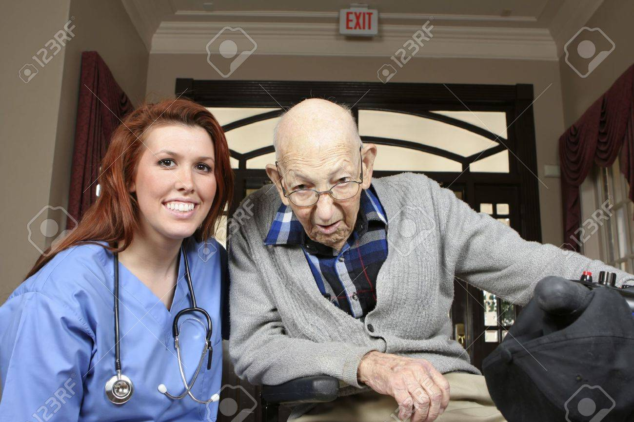 Active senior on his mobility scooter with helpful nurse Stock Photo - 6756023