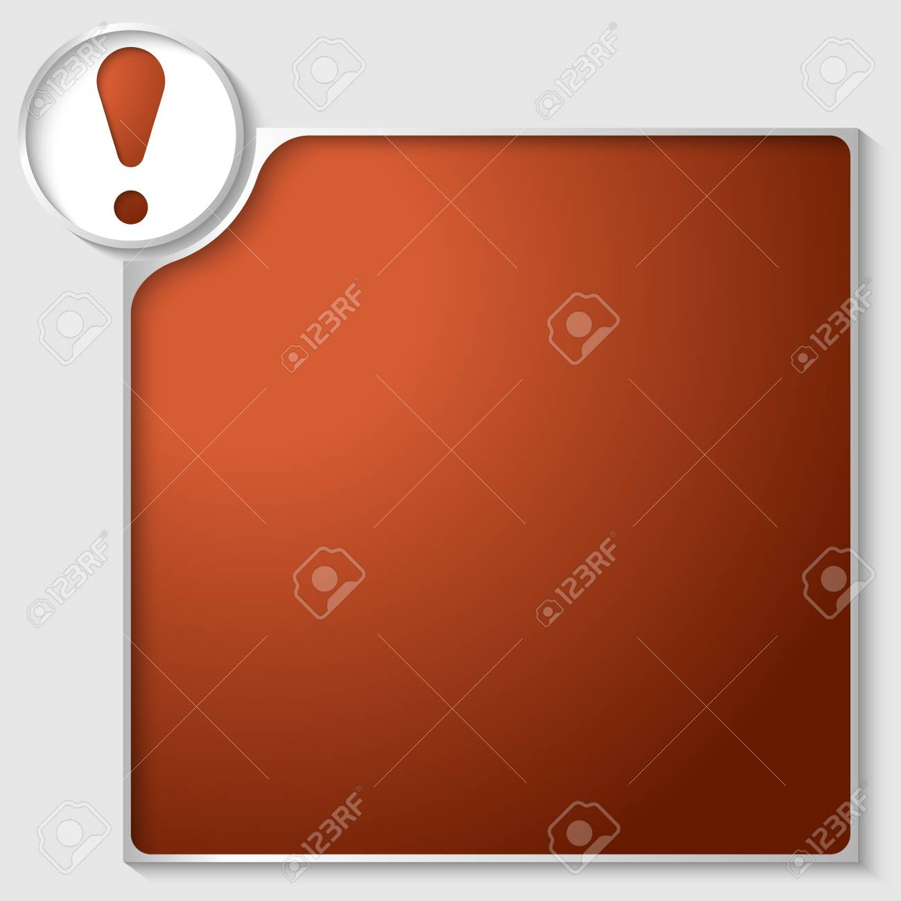 silver box for any text with red exclamation mark Stock Vector - 23387548