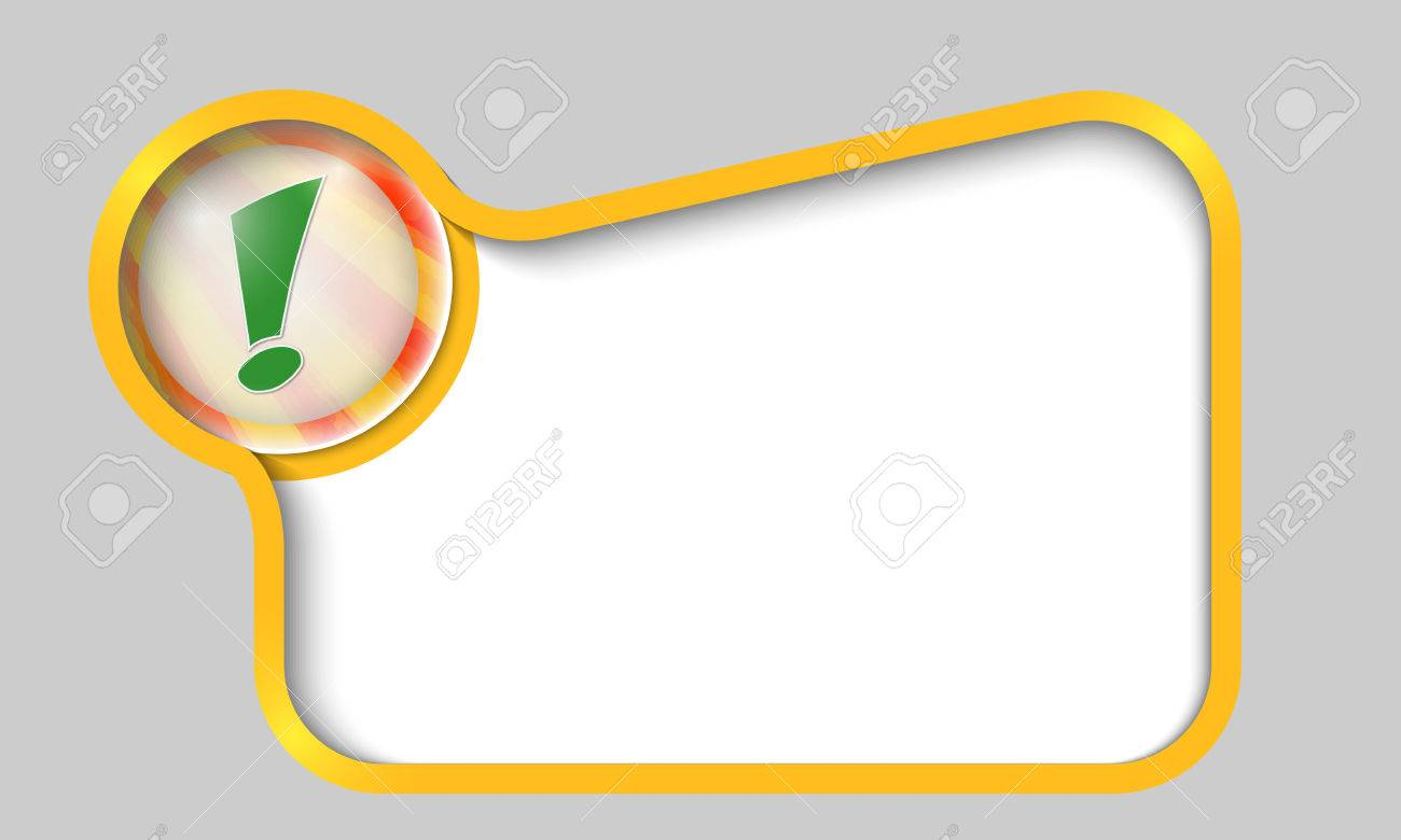 yellow text box for any text with green exclamation mark Stock Vector - 23563851