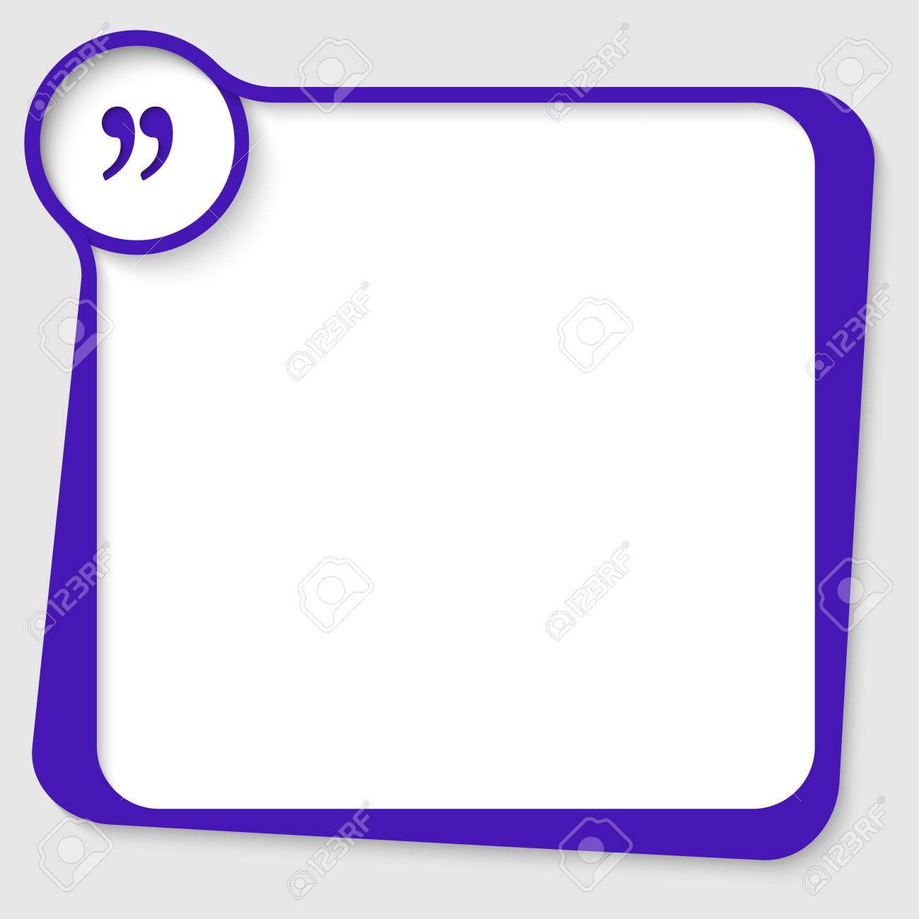 blue blank text box for any text with quotation mark royalty free