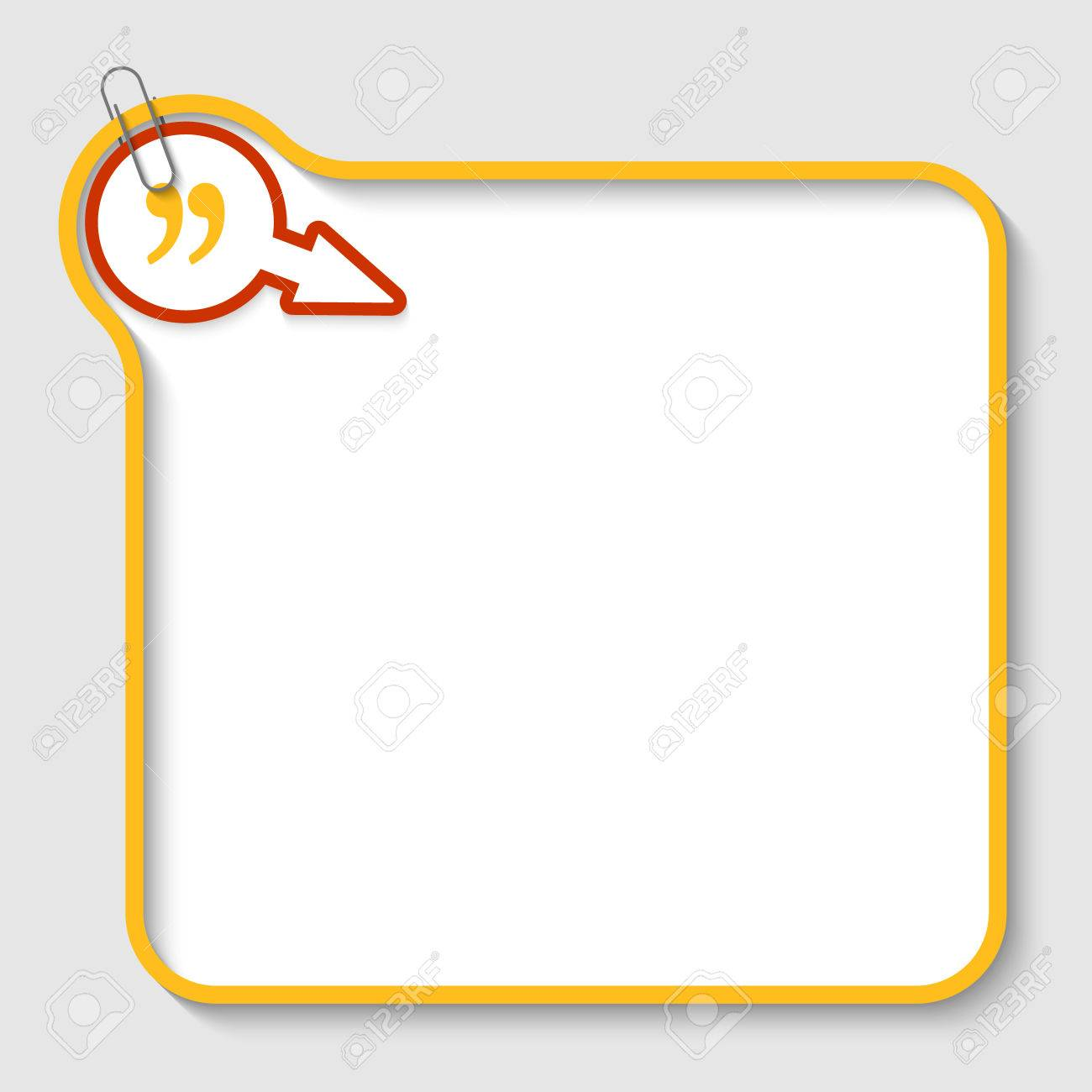 Yellow Vector Text Frame With Quotation Mark And Paper Clip ...
