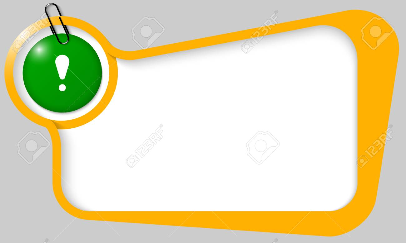 yellow text box for any text with white exclamation mark and paper clip Stock Vector - 25878649