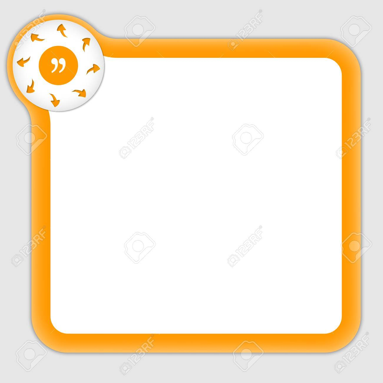 Orange Frame For Entering Any Text With Arrow And Quotation Mark ...