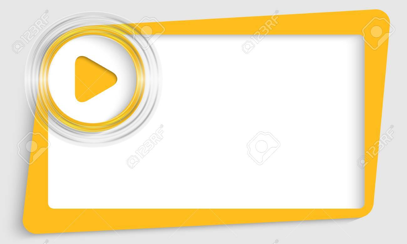 Yellow Abstract Text Box With Transparent Circle And Play Symbol
