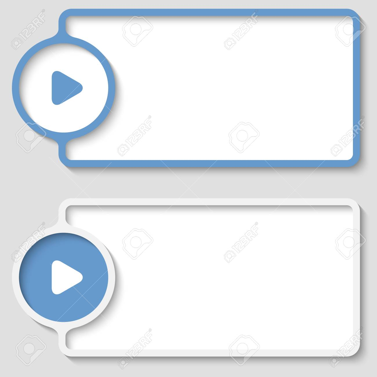 Set Of Two Abstract Text Frame With Play Symbol Royalty Free