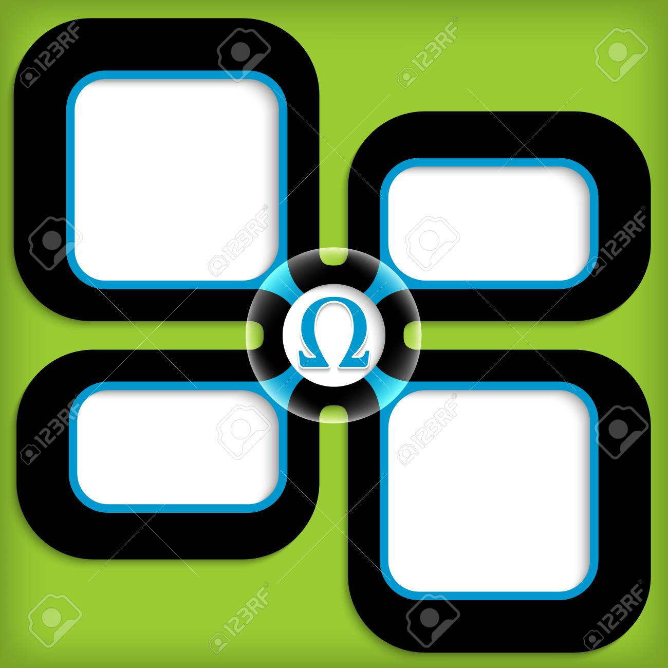 Four Boxes For Entering Text With Omega Symbol Royalty Free Cliparts