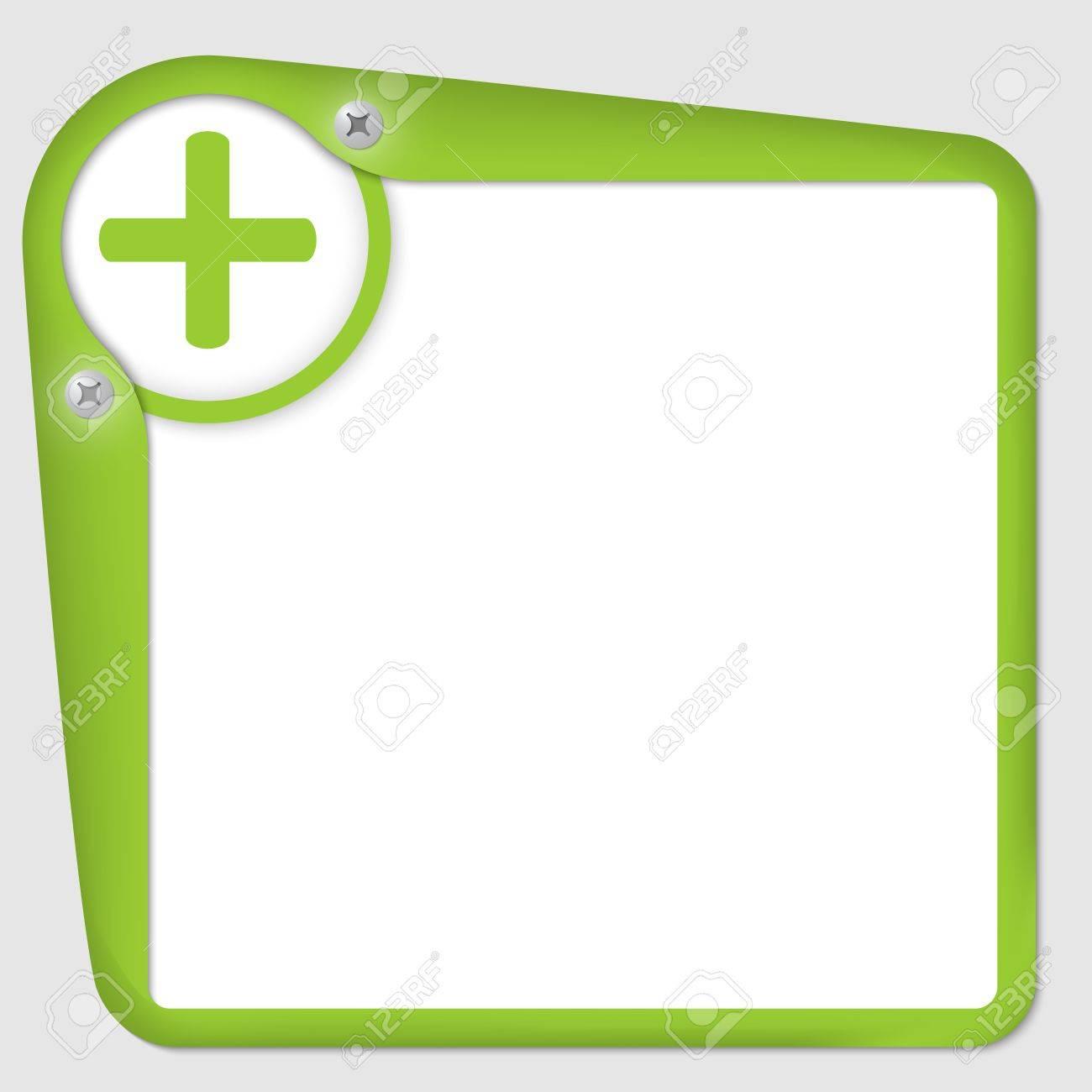 Marco Verde Para El Texto Con Tornillos Y Símbolo Más Ilustraciones ...