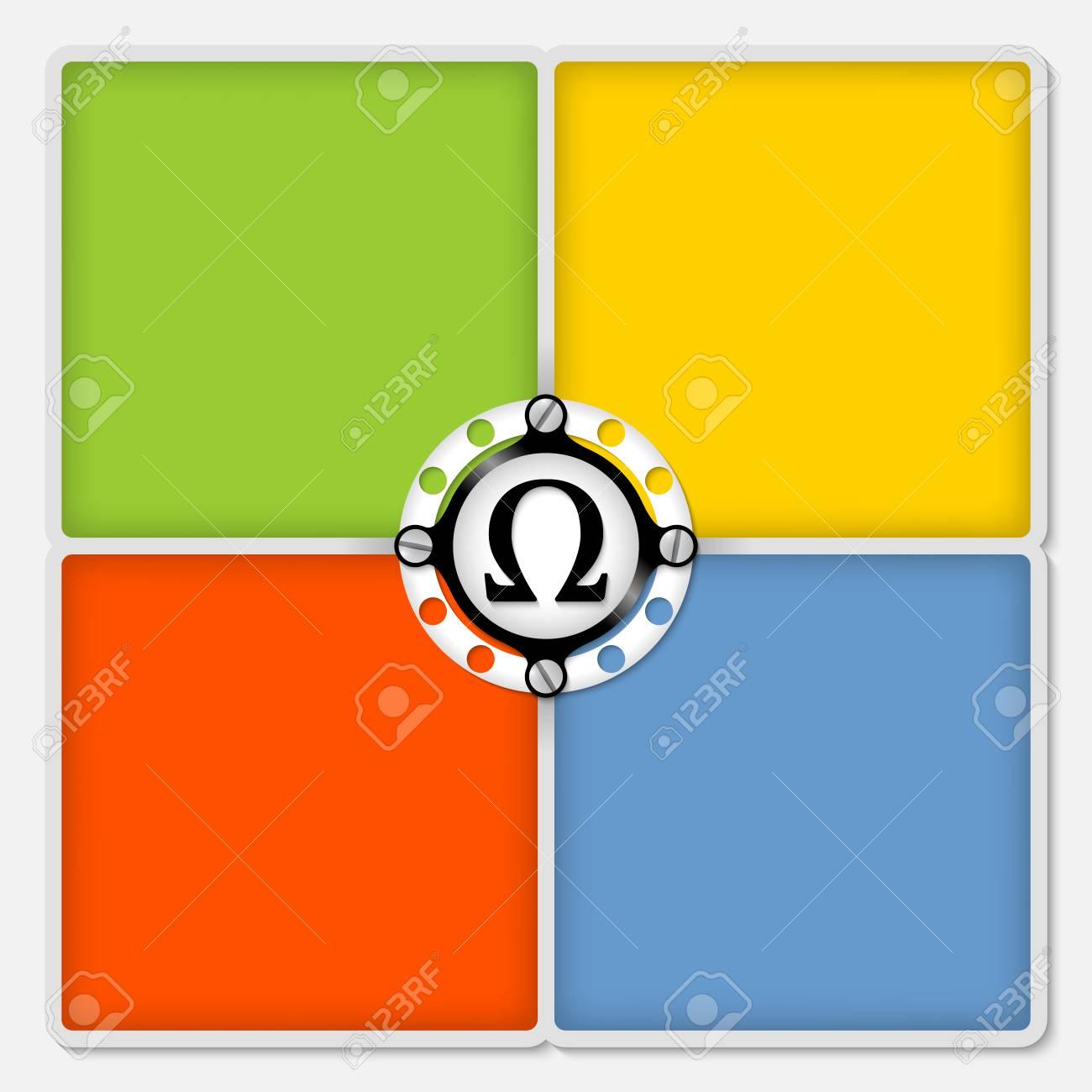 Cuatro Cuadros De Color Para El Texto En Blanco Y Símbolo Omega ...