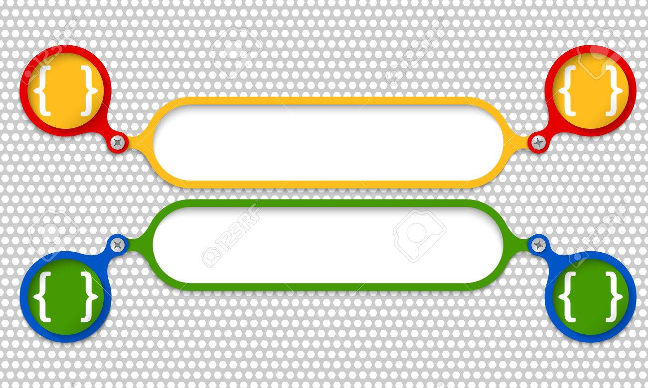 Colored Frames Joined By A Bolt And Square Brackets Royalty Free ...